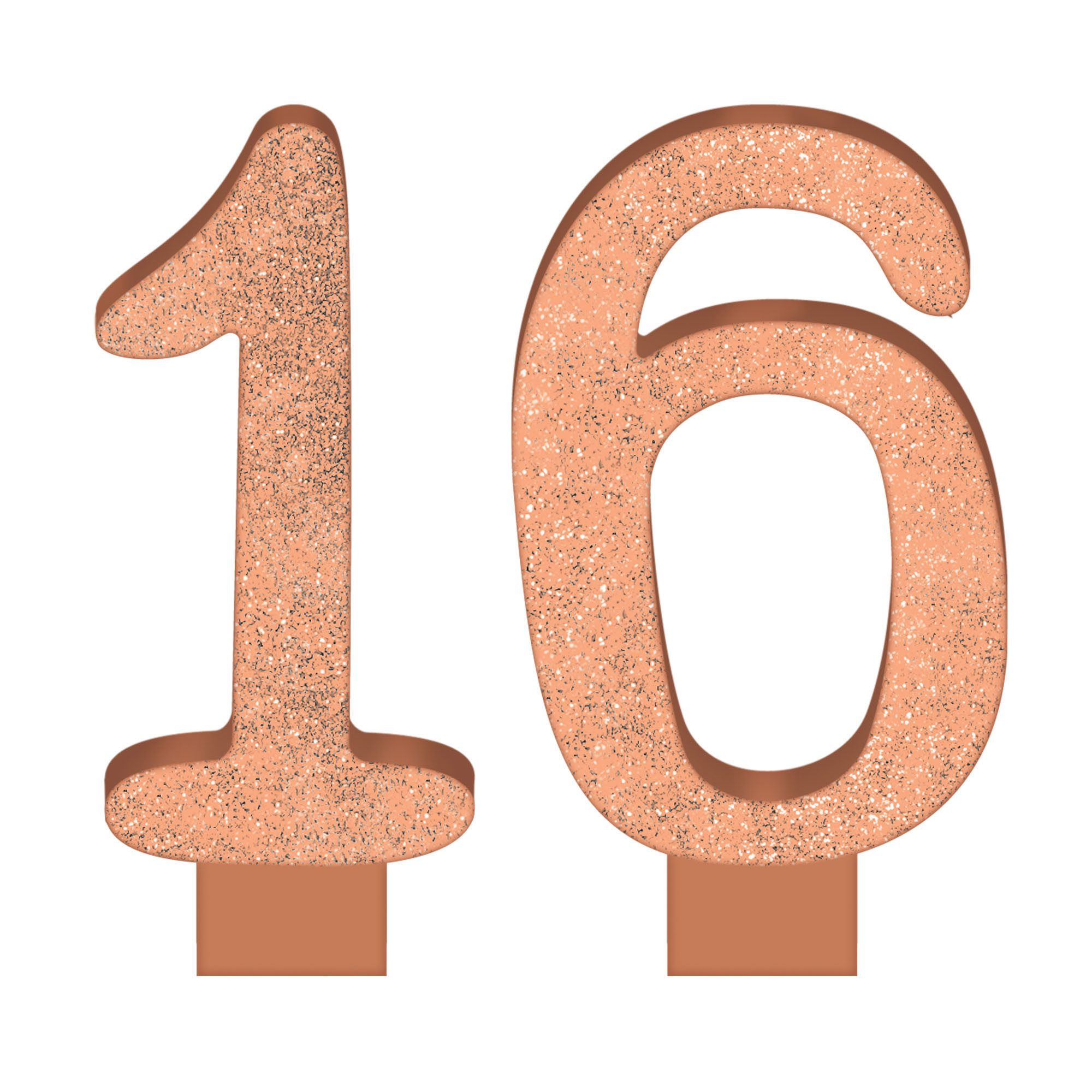 16 Blush Numeral Candle Glitter