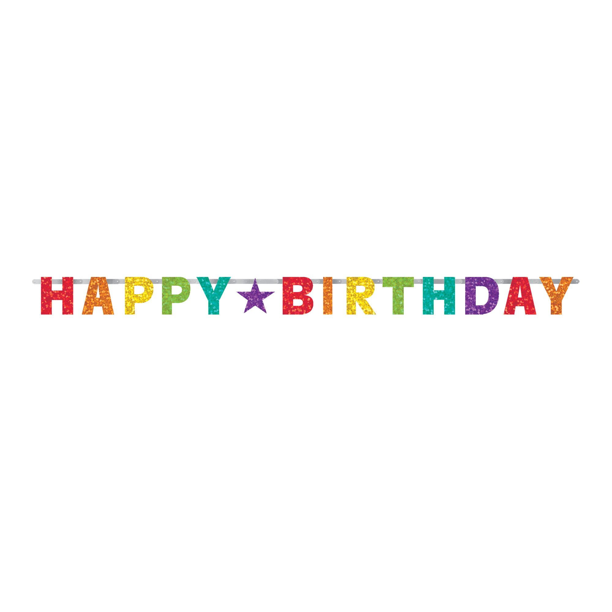 Bday Access Rainbow Prismatic Letter Banner