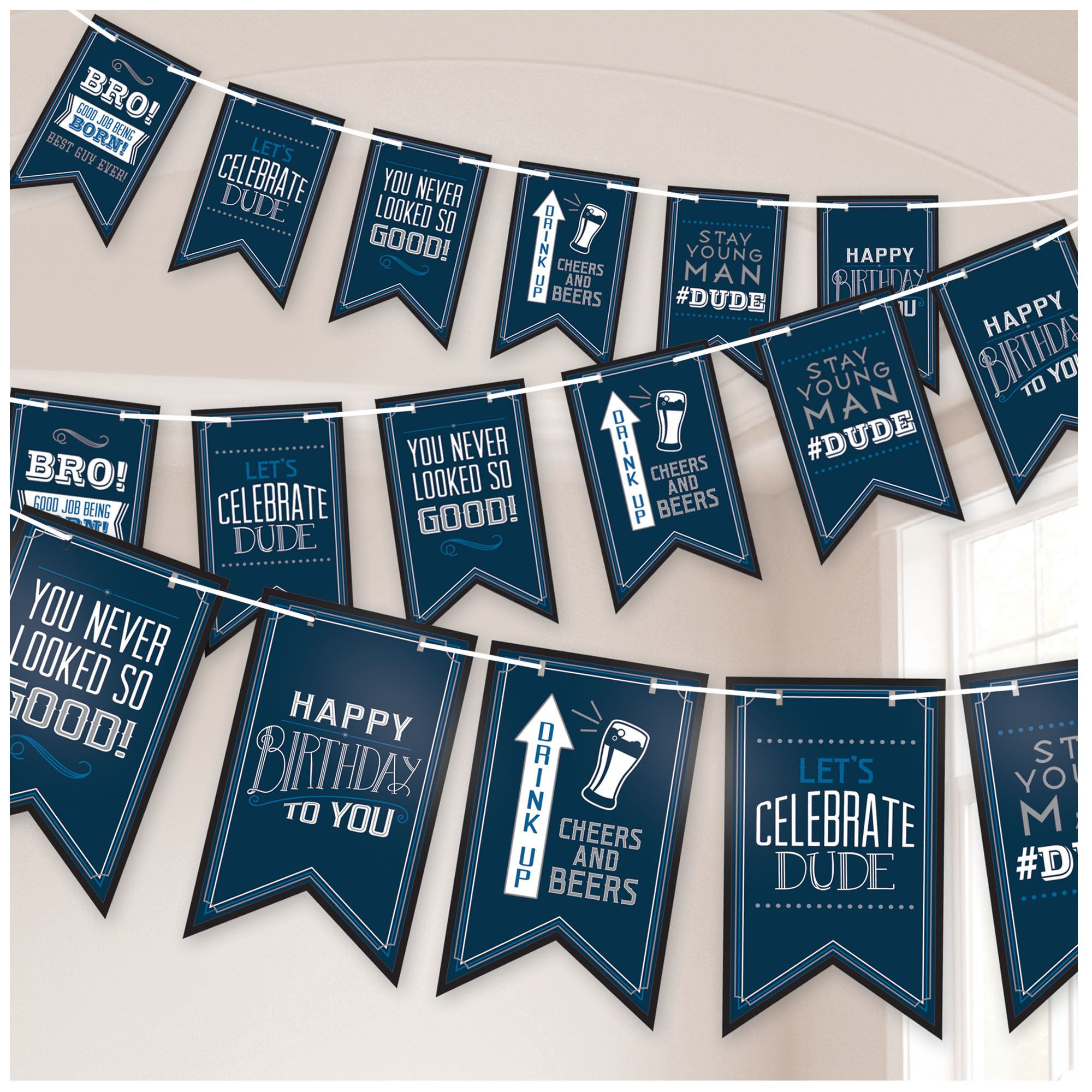 Happy Manly Bday Penant Banner
