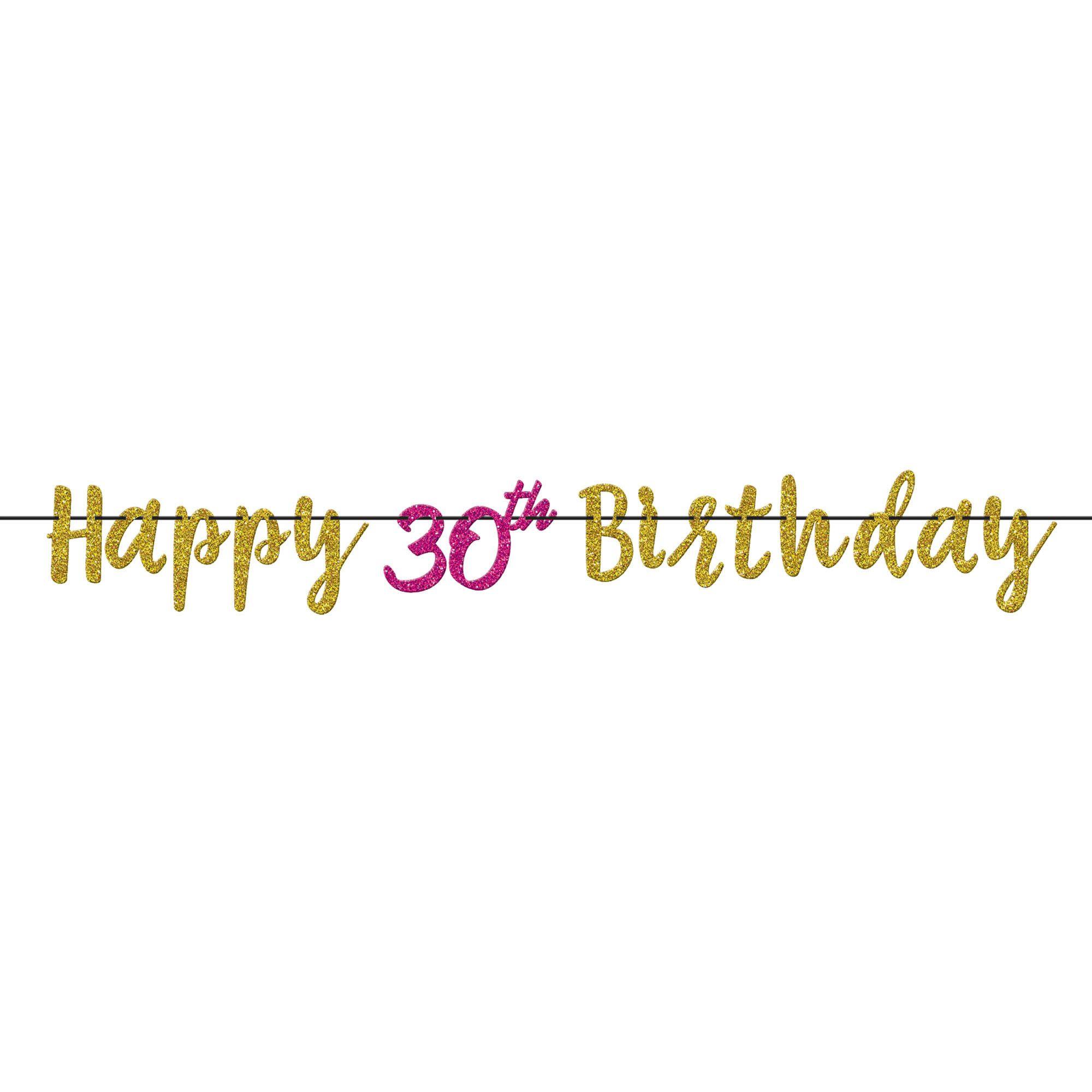 Pink & Gold 30 Letter Banner