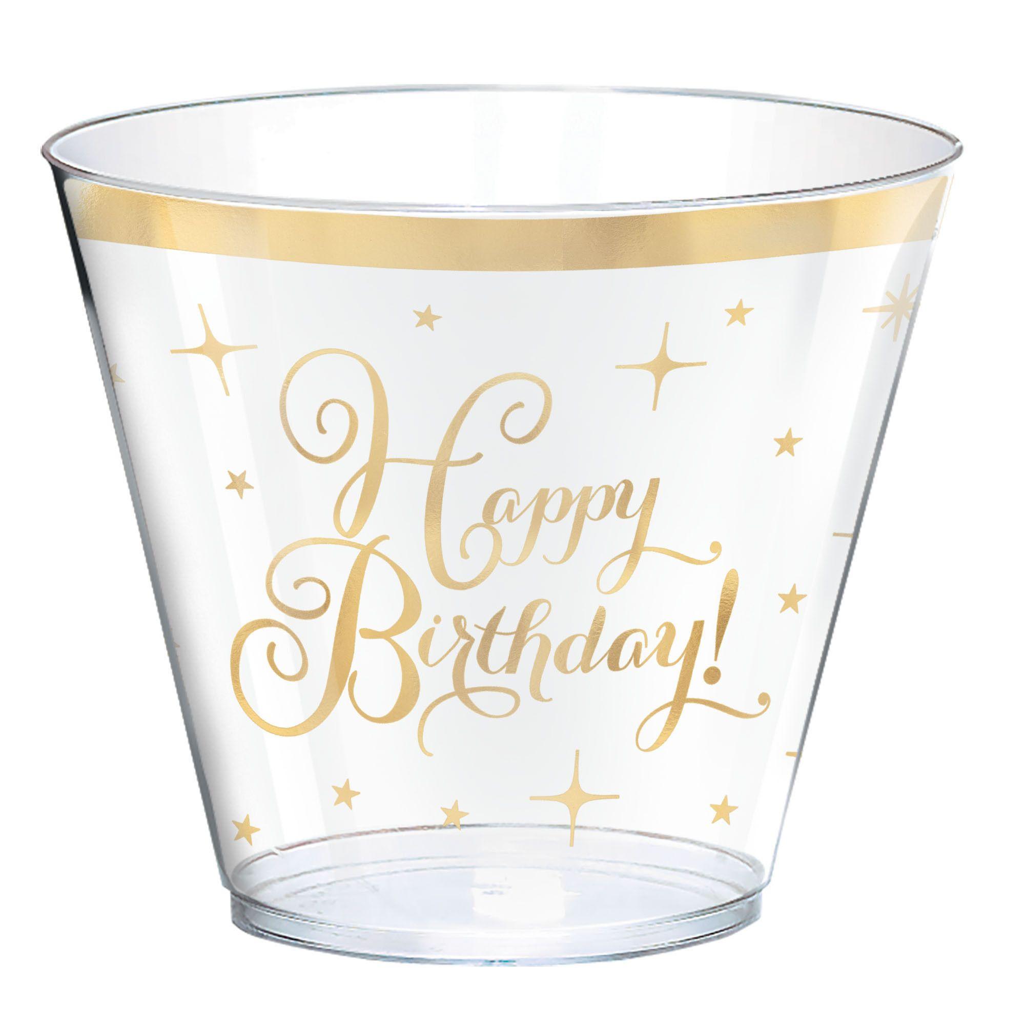 Gold Birthday Plastic Tumblers