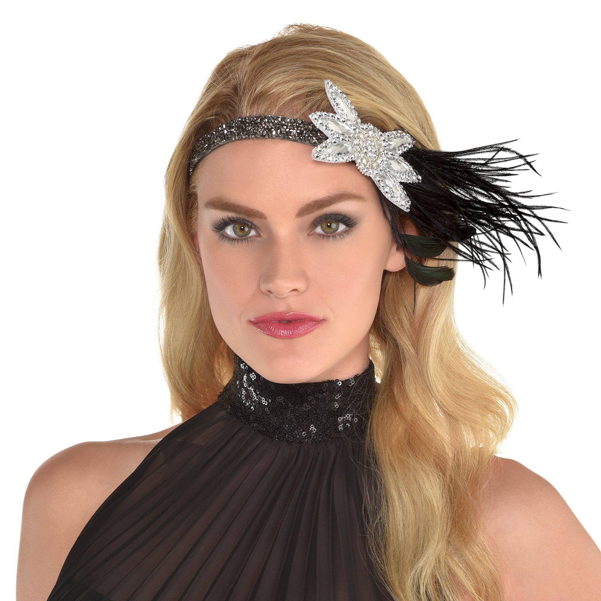 Glitzy Feathered Headband