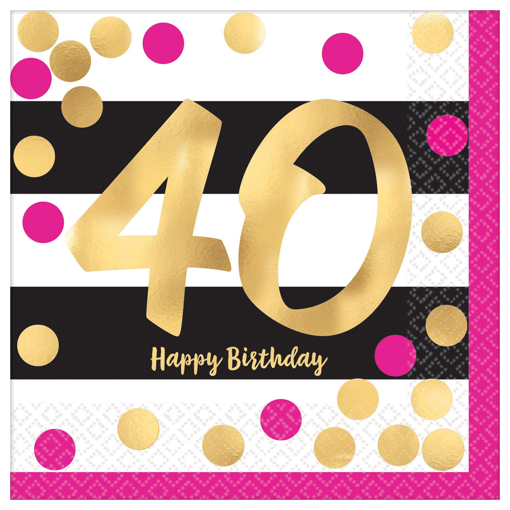 Pink & Gold Milestone 40 BN