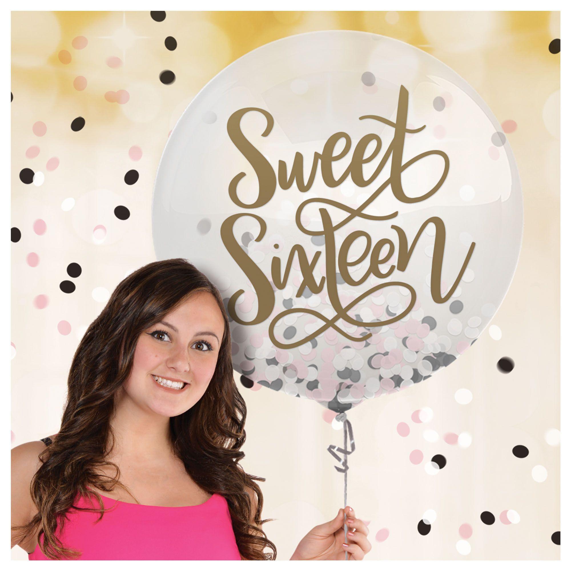 16 Blush Latex Balloon w/Confetti