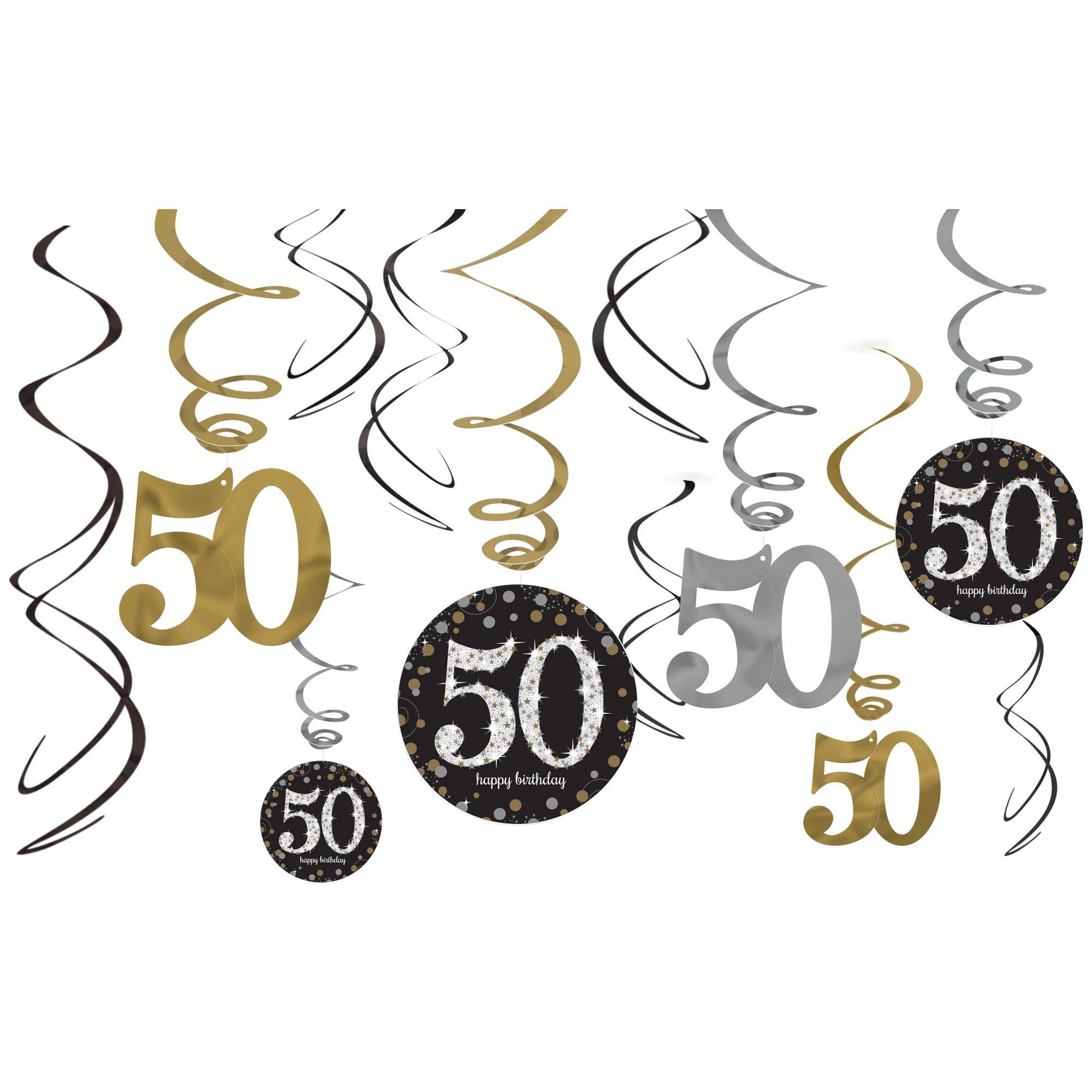 Sparkling 50th Swirl Deco