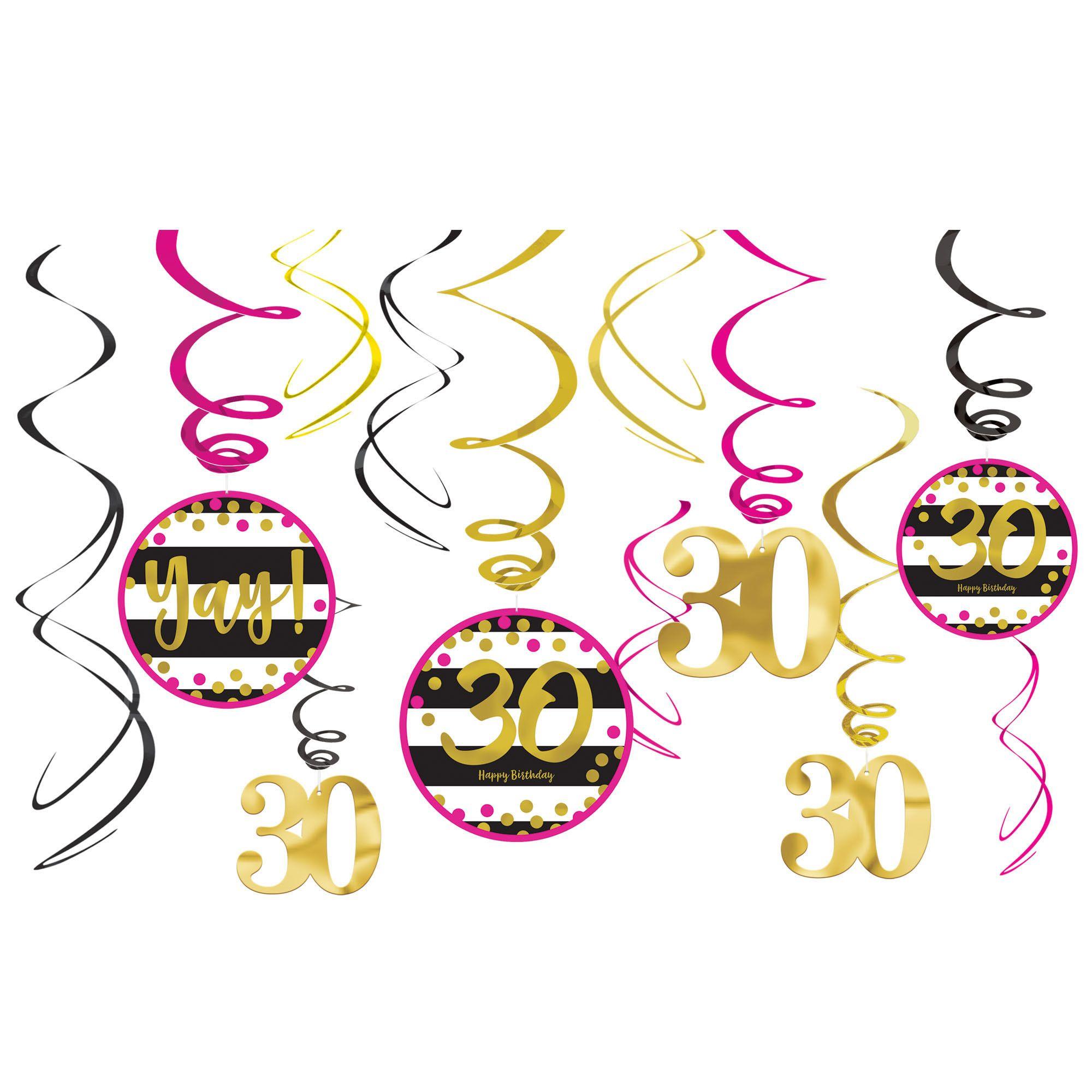 Pink & Gold 30 Swirl Deco