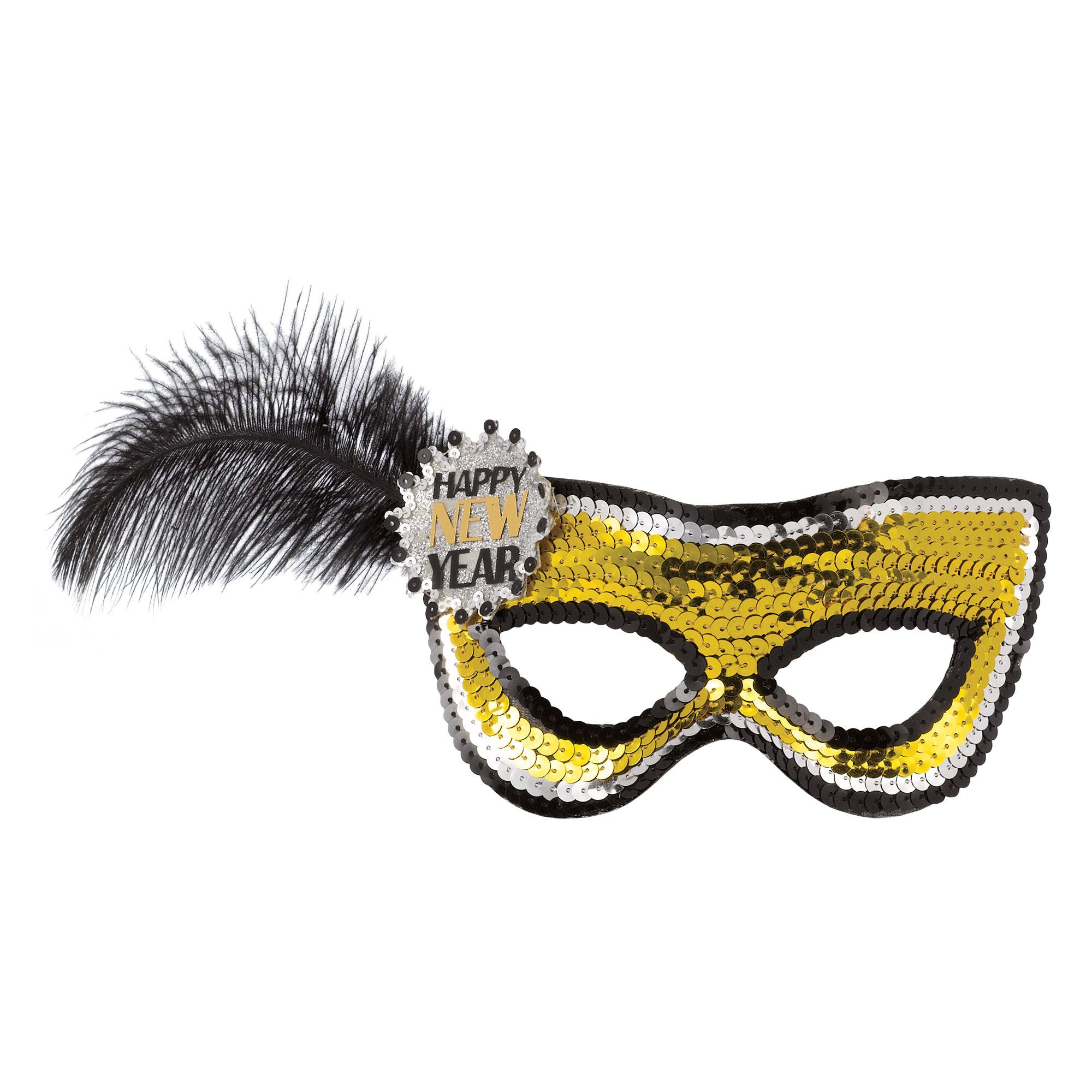 HNY Sequin Feathers Mask