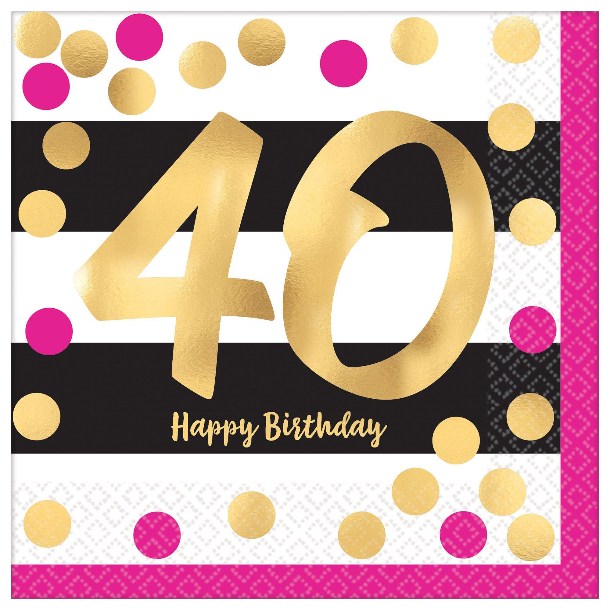 Pink & Gold Milestone 40 LN