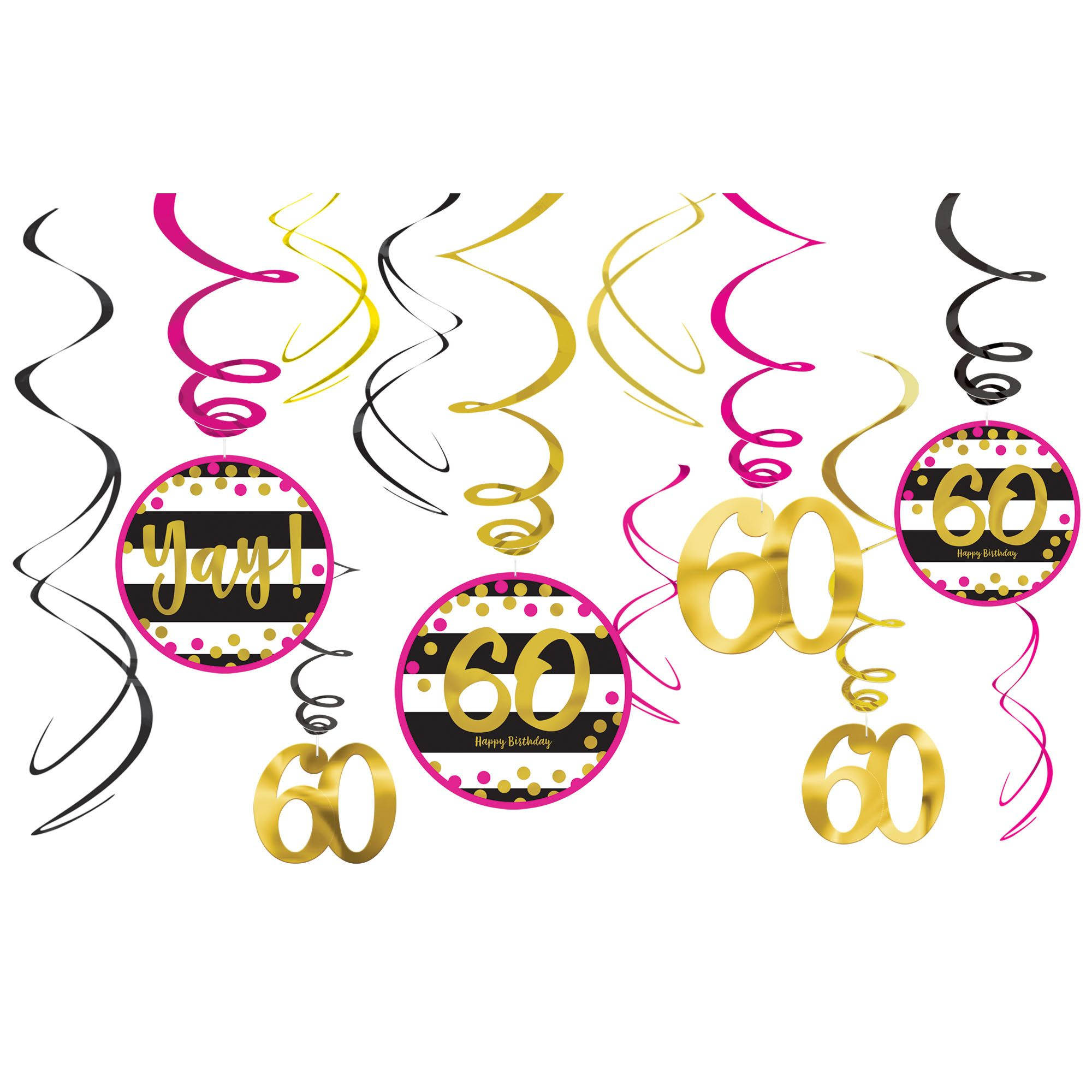 Pink & Gold 60 Swirl Deco
