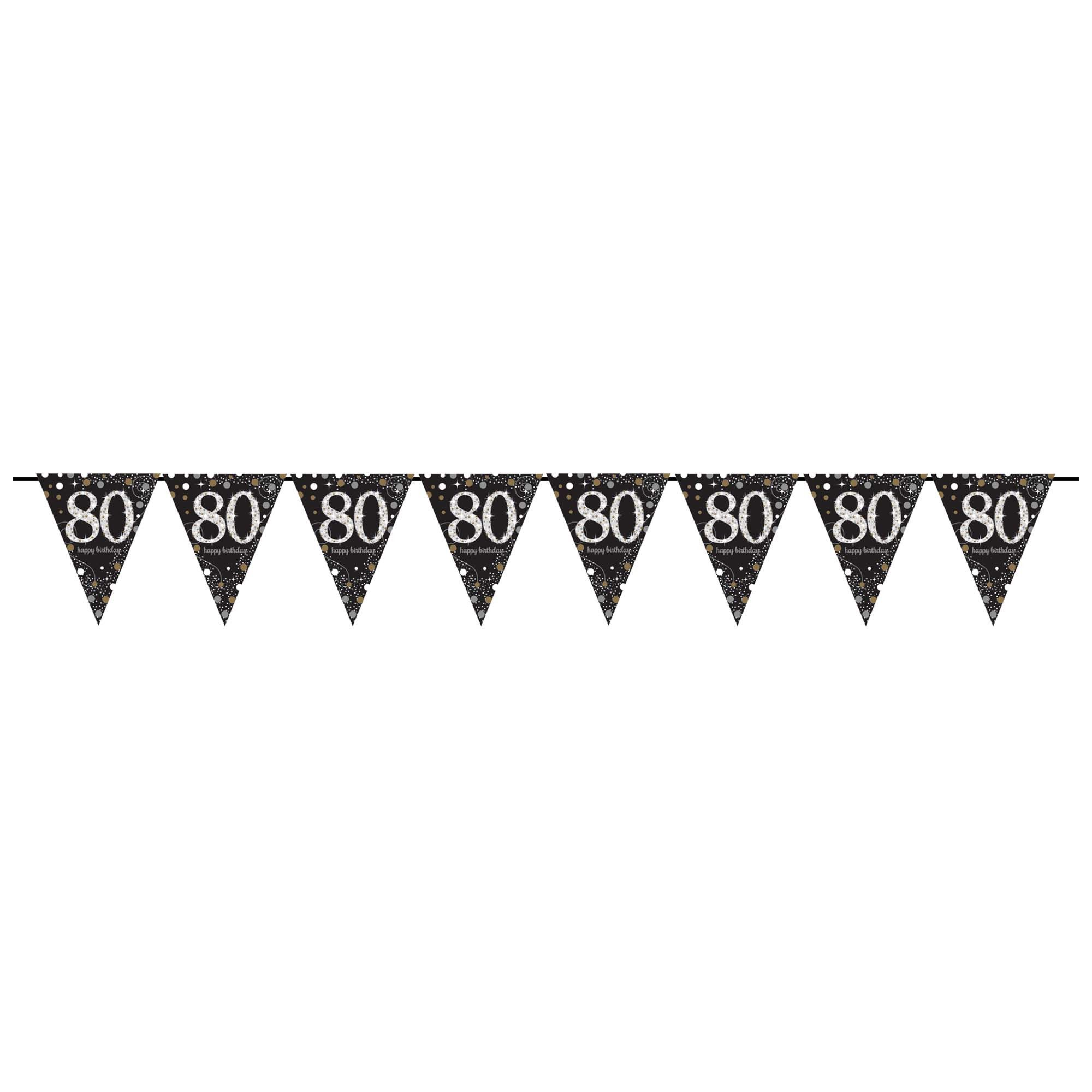 Sparkling 80th Pennant Banner