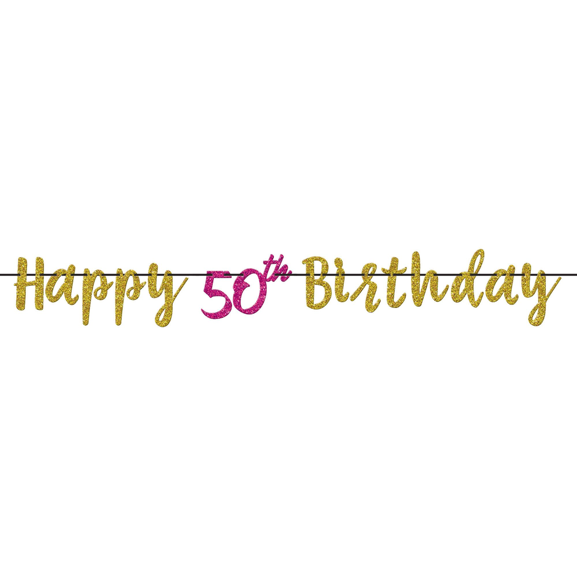 Pink & Gold 50 Letter Banner