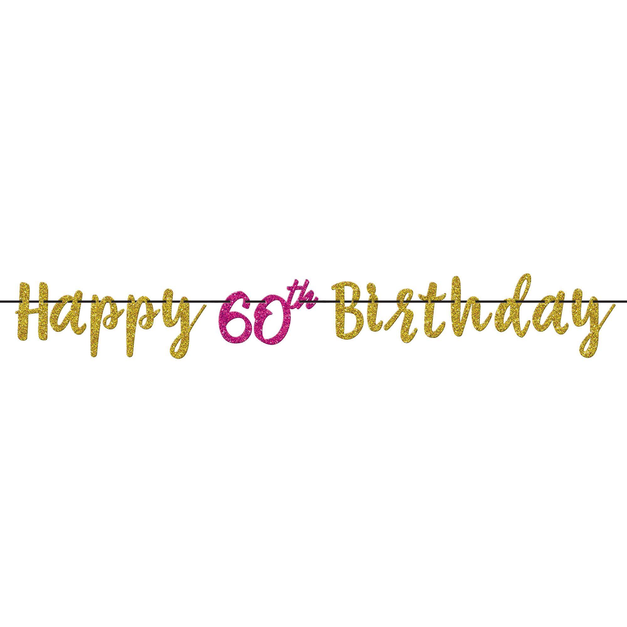 Pink & Gold 60 Letter Banner